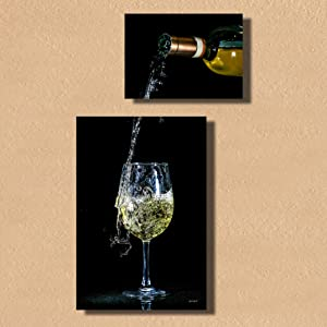 Quique Photography Wall Decor - Home Decor Set of Two Metal Print Pictures Wall Art for Dining Room Kitchen Decor or Bar Decor (White Wine)
