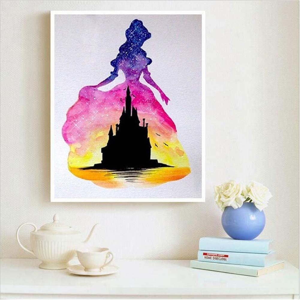 Diamond Painting,DIY Strass en Cristal Broderie Diamant Diamonds Painting Arts Craft pour Le D/écor de Mur /à la Maison Princesse du ch/âteau Lumi/ère, 15X15cm
