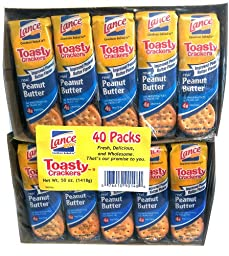 Lance Toast Toasty Peanut Butter Crackers 40 Pack Box, 51.4 Ounce