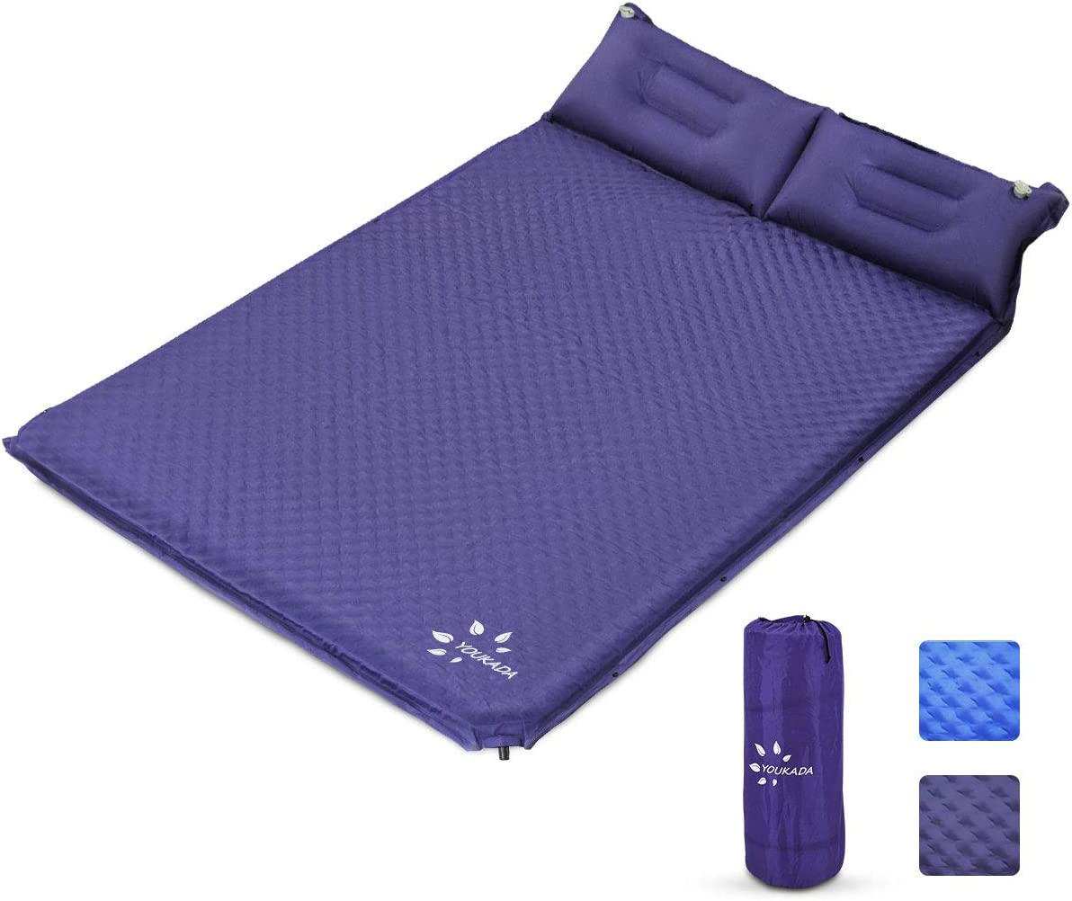YOUKADA Sleeping-Pad Foam Self-Inflating Camping-Mat for Backpacking Sleeping Pad Double Sleeping Mat Camping Pad 2 Person Camping Mattress with Pillow for Hiking Camping Gear