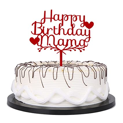 Amazon YUINYO Happy Acrylic Heart Birthday For Mama Cake Topper Party Decorations Supplies Red Toys