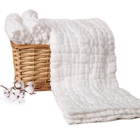 6 Pack algodón capa de 10 Paños para bebés Prefold Pañales Pañales blanco 48 x 17