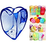 TriEcoWorld (BUY 3pcs at 2pcs price) High Quality Laundry Basket Foldable Pop Up Mesh Washing Bag Bin Hamper Toy Tidy Storage Clothes Underwear Case Frame, Navy Blue