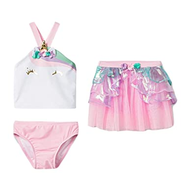 336b499091 Girls Unicorn Swimsuit Little Kids 3 Pc Set Skirt Bottom Tankini Top (3T)