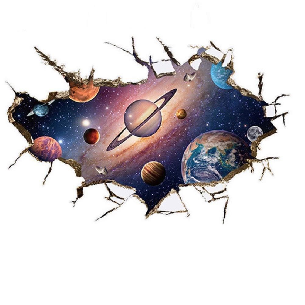 WandSticker4u- Sticker mural: le systè me solaire en 3D - Effet: 60 x 90 cm - Univers Galaxy Planè te Mars Saturn de soleil Terre - Autocollant & Amovible Tableau pour chambre d'enfant Grand