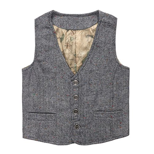 s' Map Lined Buttons V Collar Vests Herringbone Grey Size 4T ()