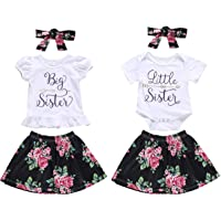 Puseky Baby Girls Little Big Sister Matching Outfits Short Sleeve Shirt + Floral Skirt Set