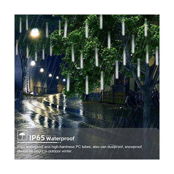 GPODER Doccia Pioggia Luci 30CM, 8 Impermeabile Spirale Tubo Luci della Pioggia di Meteore, 288 LEDs Waterfall Light per Natale/Esterno/Albero/Casa/Giardino/All'Aperto Decorazione(Bianco) 2 spesavip