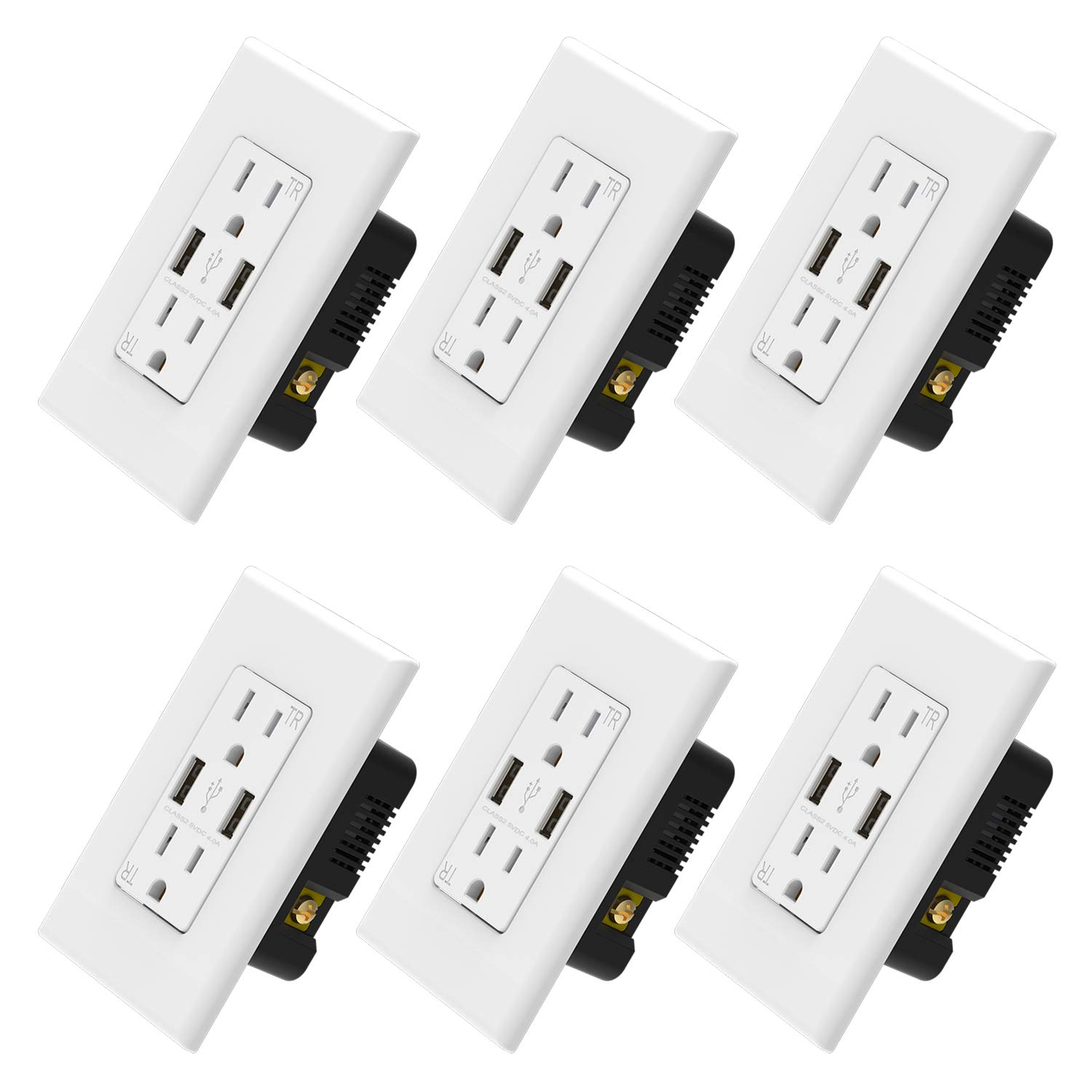 ELEGRP USB Charger Wall Outlet, Dual High Speed 4.0 Amp USB Ports with Smart Chip, 15 Amp Duplex Tamper Resistant Receptacle, Wall Plate Included, UL Listed (6 Pack, White)