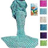 DDMY Mermaid Tail Blanket For Kids Teens Adult Handmade Wave Mermaid Blankets Crochet Knitting Blanket Seasons...