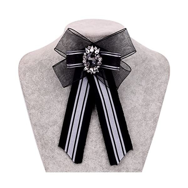 ZOONAI Women Girls Wedding Party Bow Tie Rhinestone Pre Tied Neck Tie Brooch Pin