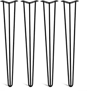 """Hairpin Table Leg, 30"""" Heavy Duty Industrial Metal Leg 3 Rod Coffee Table Leg for DIY Home Kitchen Furniture Office Desk Console Table End Table Dinging Table Night Stand, Set of 4"""