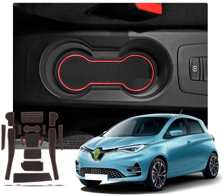 ROYAL STAR TY Door Groove Mat for Renault Zoe 2020 Car Anti-Slip Dust-Proof Gate Slot Pads Auto Interior Accessories Red 16 Pcs Color : Red