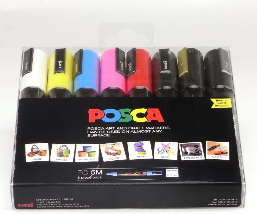 POSCA 153544134 marcador, color dorado/plateado/blanco/amarillo ...