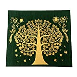 Green Bodhi Tree Thai Buddha Peaceful Make Money Lucky Silk