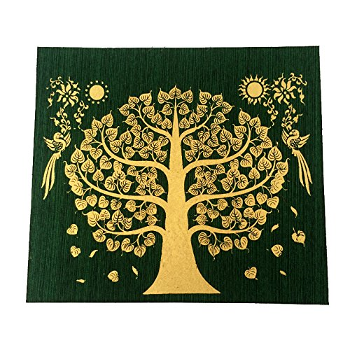 Green Bodhi Tree Thai Buddha Peaceful Make Money Lucky Silk by Patarisa