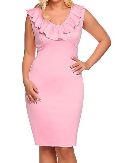 Involand Womens Plus Size Sleeveless Evening Dress Ruffled V Neck