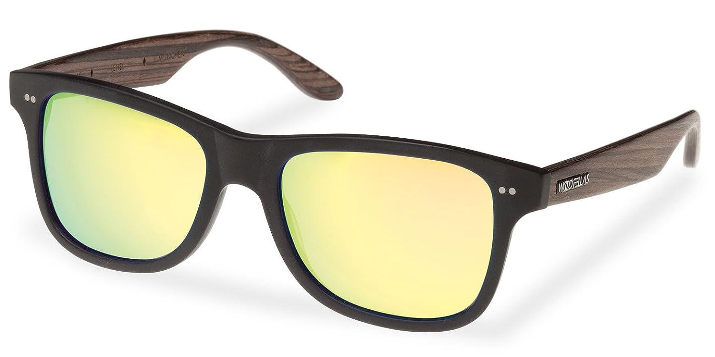 Wood Fellas Unisex Sonnenbrille Solln, Schwarz (Black/Mirr. Blue 5110), One size (Herstellergröße: one size)