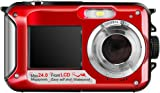 Hoyxel Waterproof Digital Camera, EG04 Dual Screen Mini FHD Video Camera FHD Support Underwater/Sports Recording Self Shoting(Clear Red)