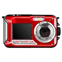 Hoyxel Waterproof Digital Camera, EG04 Dual Screen Mini FHD Video Camera FHD Support Underwater/Sports Recording Self Shoting(Red)