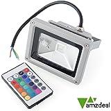 amzdeal® Foco Proyector LED 10W RGB - foco proyector de exterior LED de altas prestaciones y gran resistencia (IP65) AC85 - 265V 16 Colores Impermeable con Mando a distancia