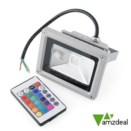 amzdeal® Foco Proyector LED 10W RGB - foco proyector de exterior ...