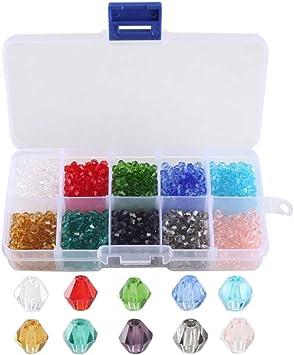 FOGAWA 1000pcs Abalorios Para Hacer Pulseras Cuentas Sueltas Perlas Vidrio Almacenamiento de Caja perlas para Hacer Pulsera Tobillera 4mm: Amazon.es: Juguetes y juegos