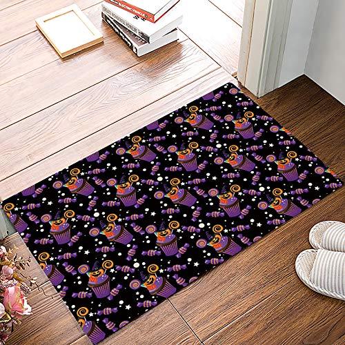 URDER Welcome Doormats Rubber Non-Slip Floor Mat Rugs for Entrance Way/Indoor/Front Door/Bathroom/Kitchen, Shoe Scraper Carpet 32 x 20 Inch Happy Halloween Pumkin Cake and -