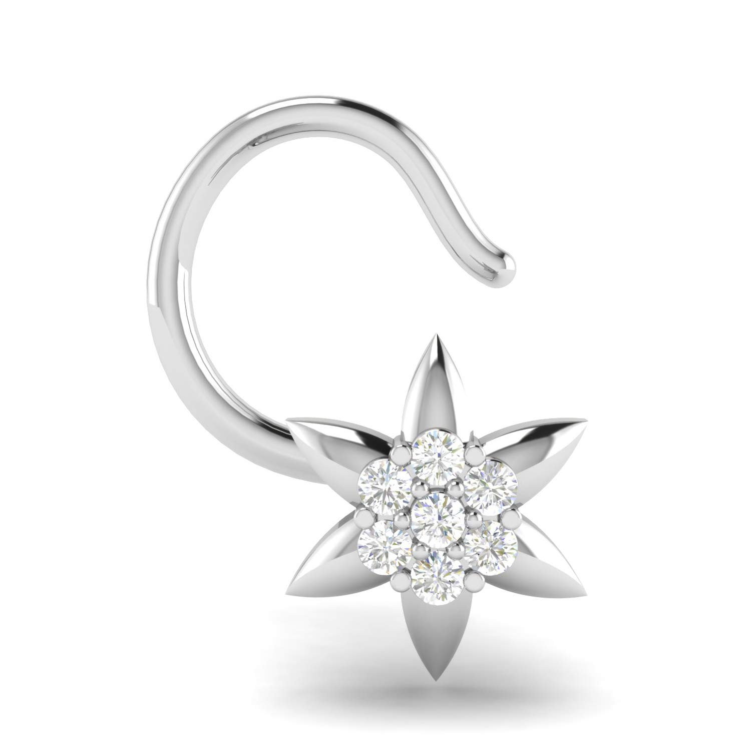 Buy Avsar 18kt White Gold And Diamond Nose Ring For Women At Amazon In
