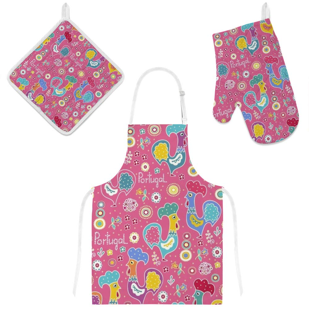 Top Carpenter Polyester Insulation Kitchen Oven Mitts Potholder Apron 3Pcs Set Colorful Portugal Roosters Non Slip Heat Resistant Gloves for Baking Cooking BBQ