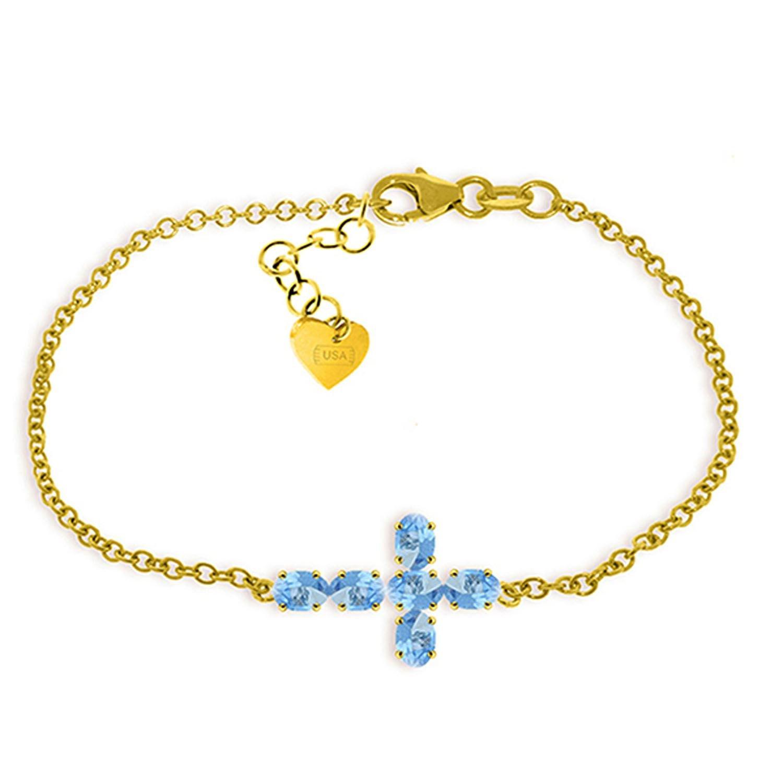 ALARRI 1.7 Carat 14K Solid Gold Cross Bracelet Natural Blue Topaz Size 8 Inch Length