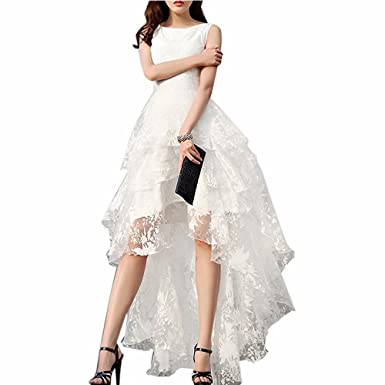 Pandorawedding Womens Sleeveless Lace Waist Prom Dresses 2017 Vintage High Low Elegant Homecoming Dresses Ivory,
