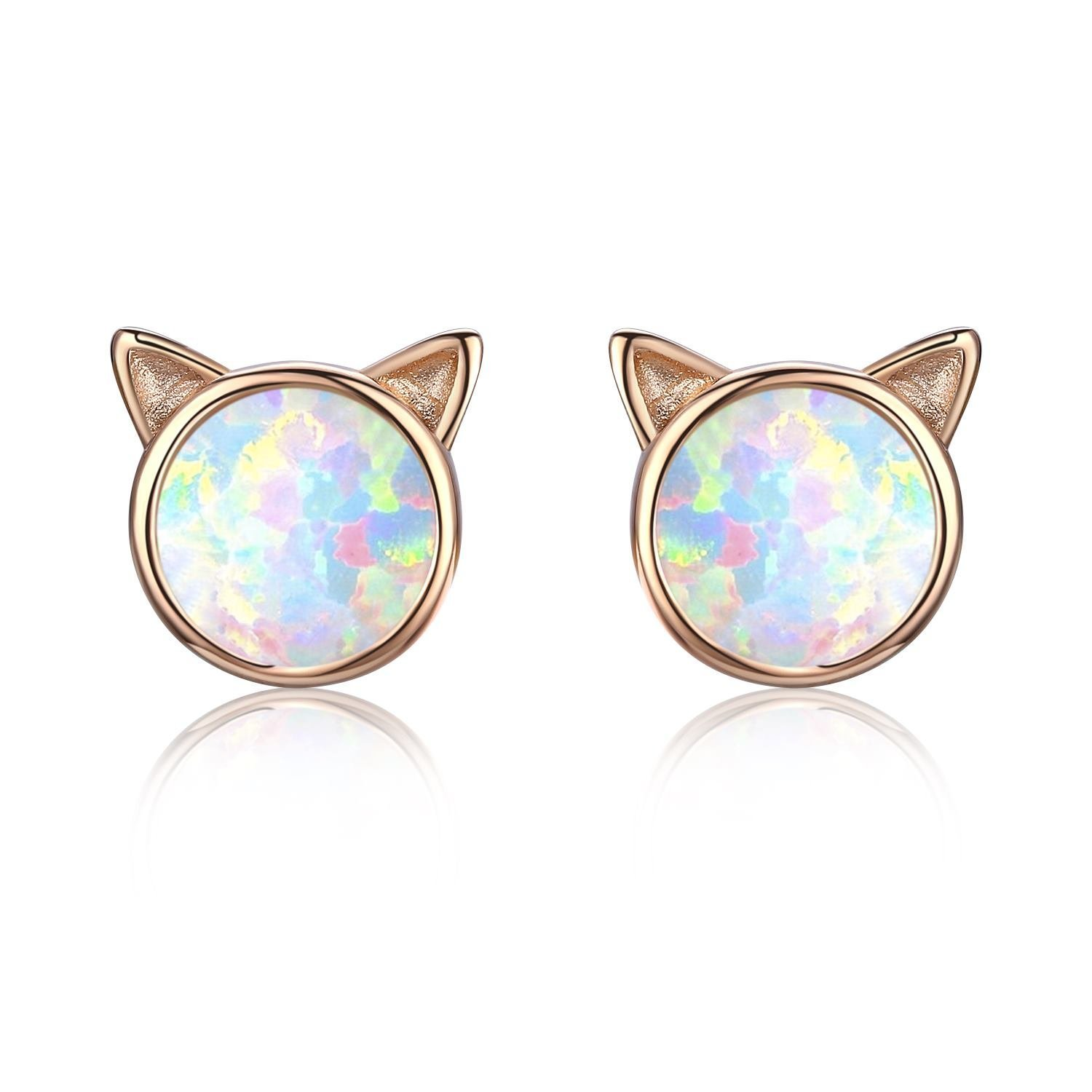 Opal Stud Earrings, Cat Ear Stud Earrings 18K Gold Plated Sterling Silver Cute Kitten Earrings Gift for Cat Lovers