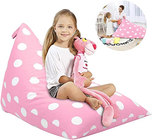 Aubliss Stuffed Animal Storage Bean Bag Chair Cover for Kids, Girls and Adults, Beanbag Cover Only, 23 Inch Long YKK Zipper, Premium Cotton Canvas, Xmas Gift Ideas Light Pink dot