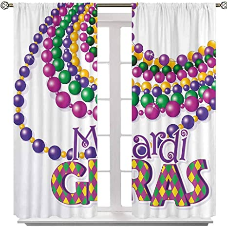Amazon Com Aishare Store Rod Pocket Curtain Panel Colorful Beads Party Necklaces With Mardi Gras Calligraphy Patterned Design 63 Inches Long Room Darkening Curtains For Girls Bedroom 2 Panels Home Kitchen