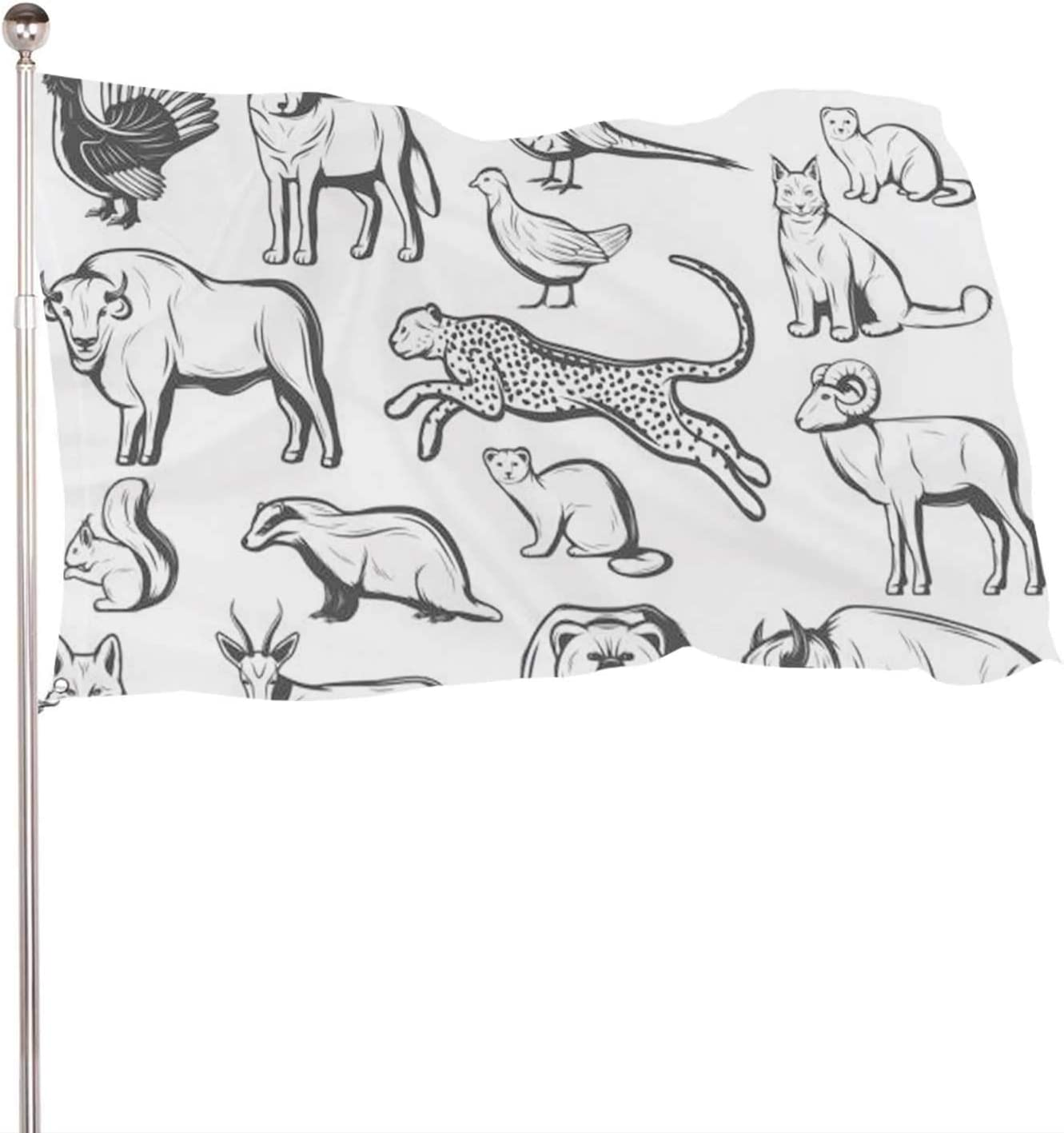 Dxichy Hunting Monochrome Animals and Birds - - Gazelle,Banner Flags with Grommets for Decor Vivid Color and UV Fade Resistant Bear 3x5 Ft