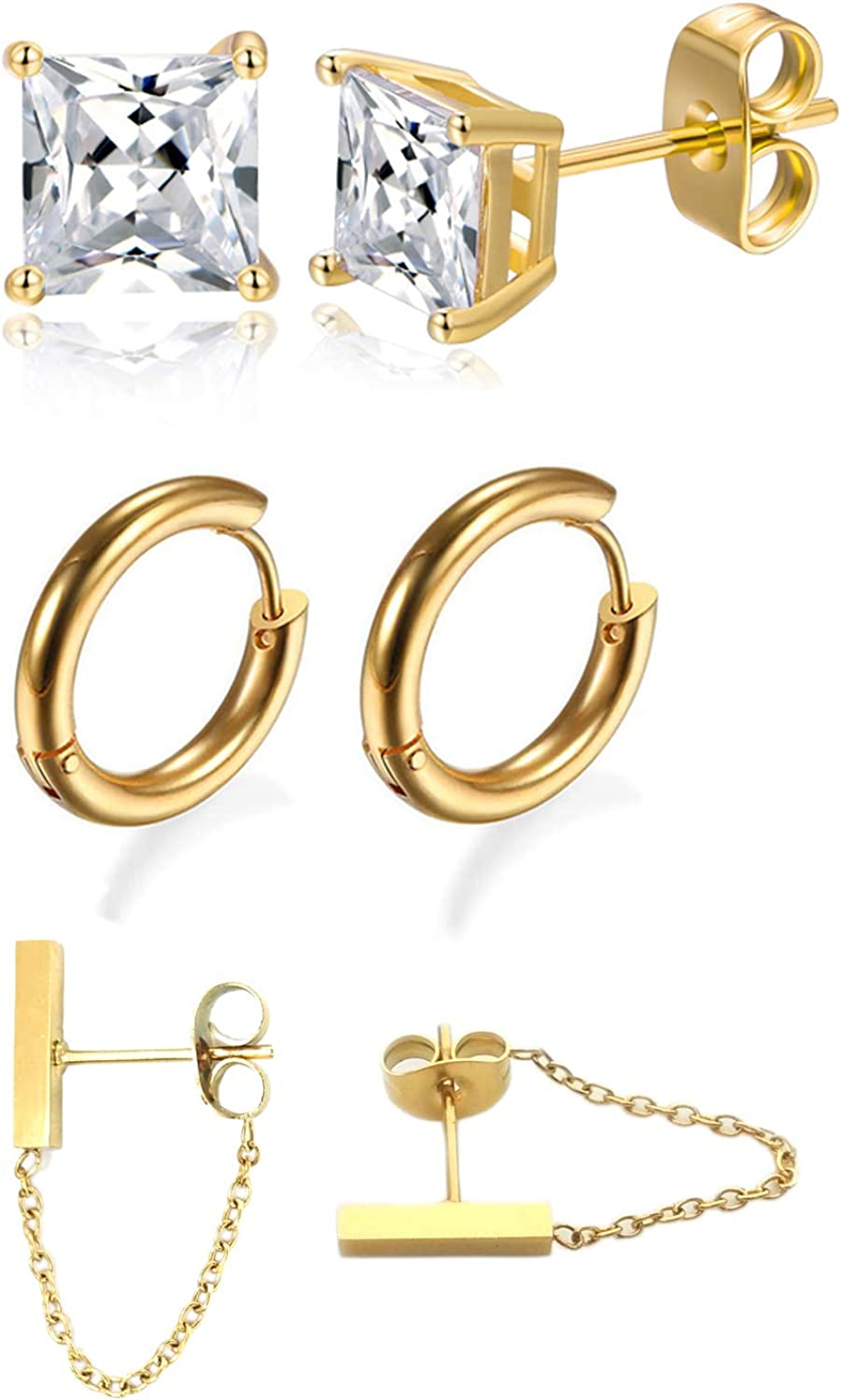 14K Gold Plated 316L Surgical Steel Hoops Ear Studs Dangle Earring Set for Men&Women 20G Hypoallergenic Piercing,Pack of 3 Pairs