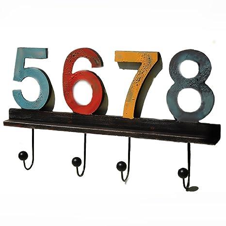 Percha Digital con 4 Ganchos Decorativos MDF Wall Hook Rack para Abrigos Sombreros Llaves Toallas Ropa