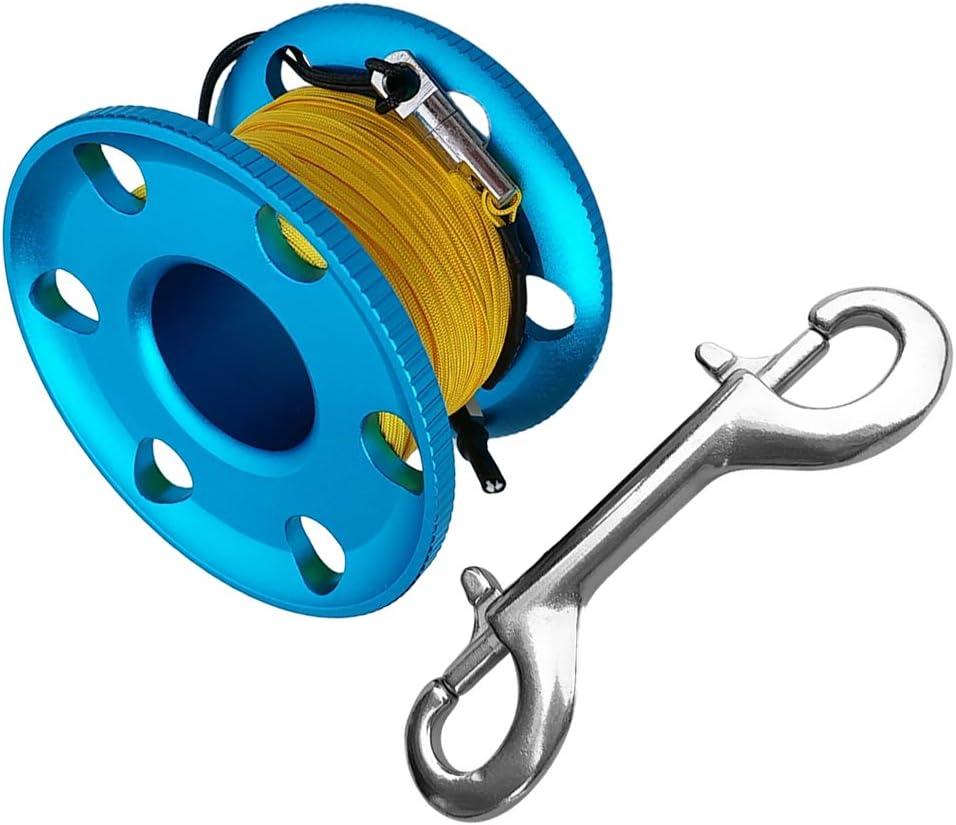 1 Pc de Carrete para Buceo y Snorkel en Cueva Hecho de Aleaci/ón de Aluminio y Acero Inoxidable Azul-20m