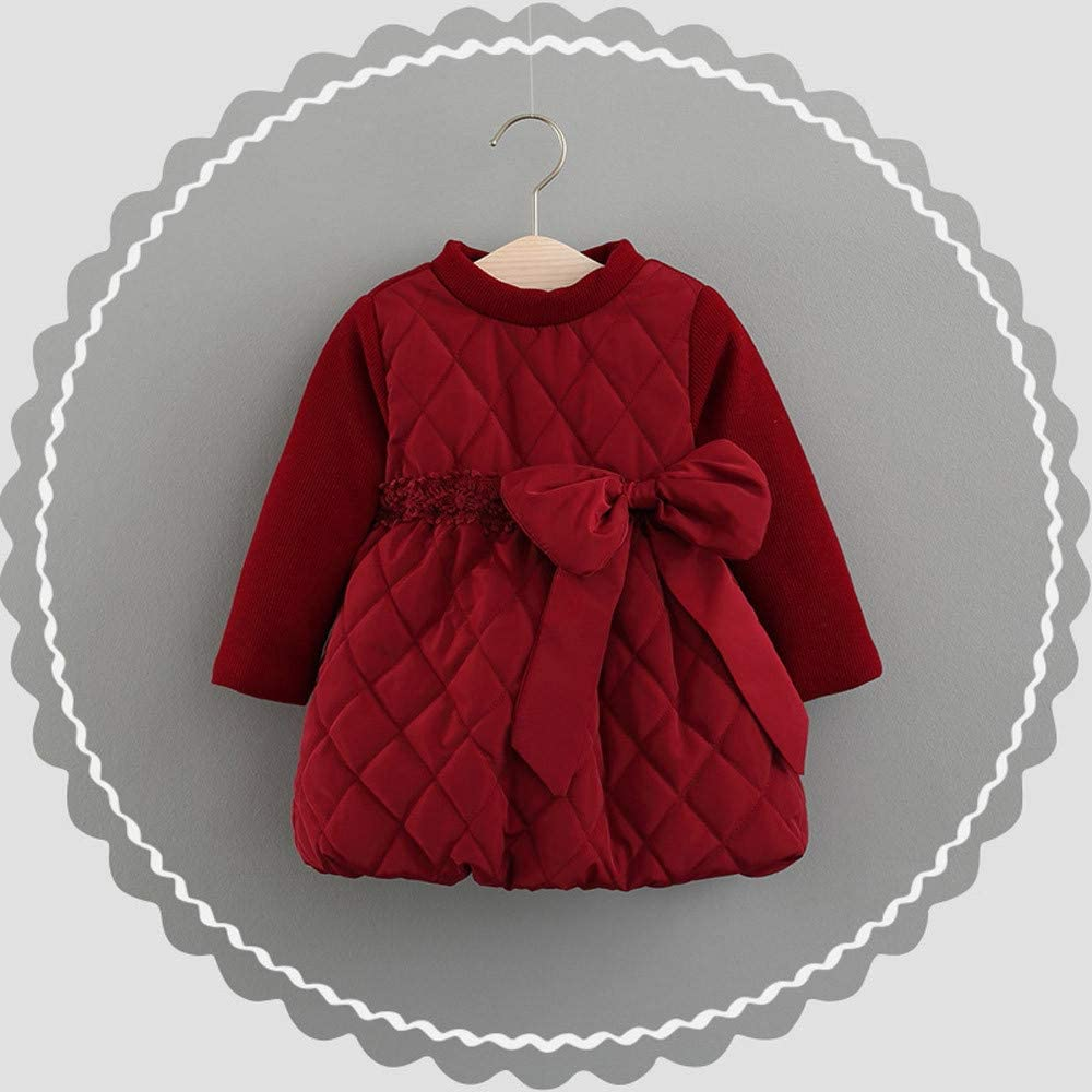 Dream Room Bow Princess Dresses Winter Padded Cotton Warm Party Pageant Dress for 0-24 Months Baby Girls