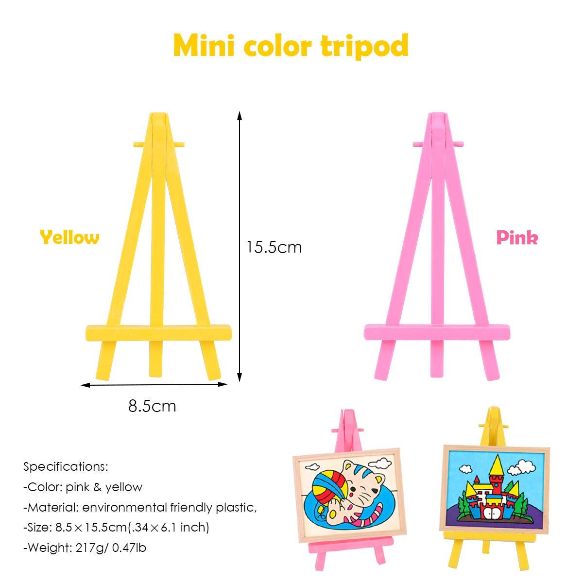 YoungRich 10 Piece Mini Wood Easels Artist Triangle Table Stand Display Holder Decoration Phone Kickstand Simple Fashionable Great for Weddings Parties Celebrations Caf/é
