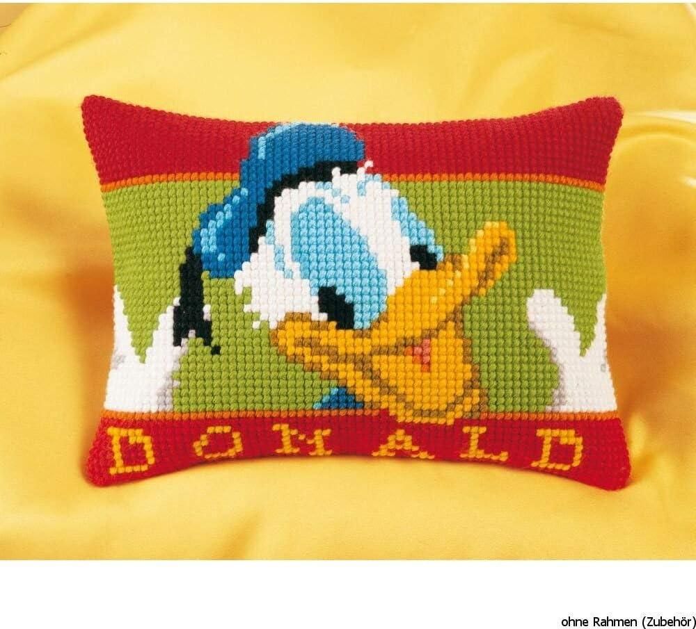 40 x 28 x 0,3 cm wei/ß Vervaco Kreuzstichkissen Donald Duck Kreuzstickpackung vorgedruckt Stramin