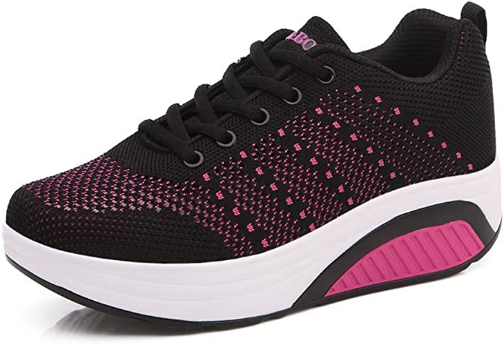 Damen Sneakers Dicke Sohle Aufzug Freizeitschuhe Hohl Atmungsaktiv Laufschuhe Trainers Fitness Bequeme Schuhe