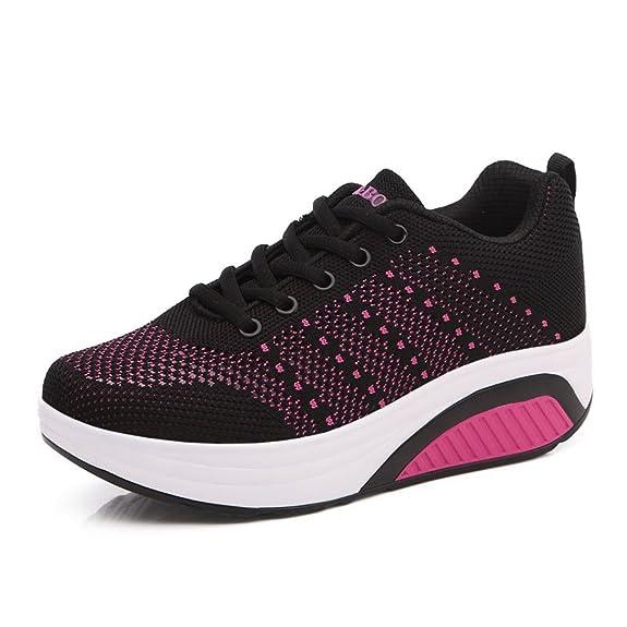 Damen Sneakers Dicke Sohle Aufzug Freizeitschuhe Hohl Atmungsaktiv Laufschuhe Trainers Fitness Bequeme Schuhe Weiß-Pink 39 EU LanFengeu oMX80pvhv3