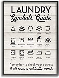 The Stupell Home Decor Collection Laundry Symbols Guide TypographyOversized Framed Giclee Texturized Art