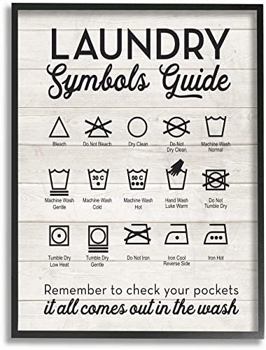 Stupell Industries Laundry Symbols Guide Typography Black Framed Wall Art