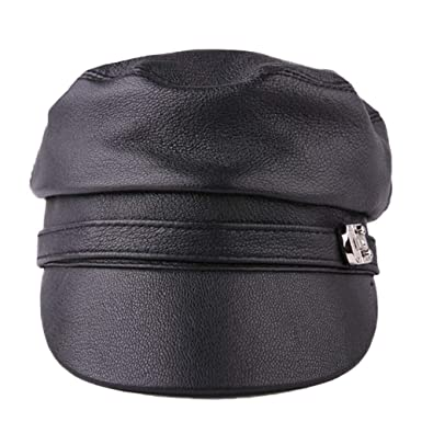 Image Unavailable. Image not available for. Colour  Season4U Women Flat Cap  Leather Military ... 79cd2efe69e1