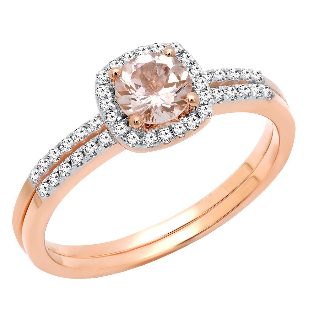 10K Rose Gold 5 MM Round Morganite & Diamond Bridal Halo Engagement Ring Set (Size 7)