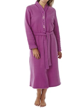 Ladies Buttoned Polar Fleece Dressing Gown. Deep Navy or Fuchsia ...