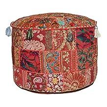 Red Bohemian Pouf Ottoman Vintage Patchwork Indian Pouf, Round Ottoman, Seat Stool Pouffe ,Cotton Living Room Decor 12x16 inch
